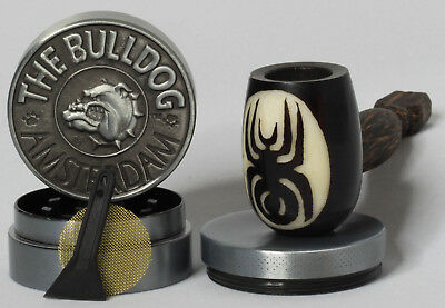 Spider Dog Wood pipe hand Carved smoking Tobacco Tagua Pot 3pc herb grinder