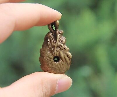 100% Pure Bronze Chinese Zodiac Luck Dragon Counteract Evil Force Amulet Pendant