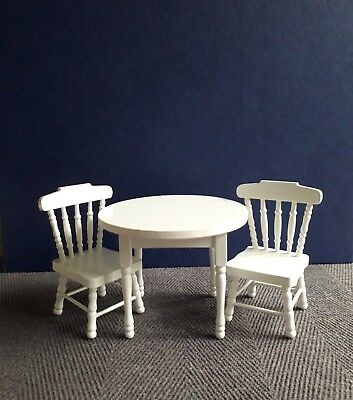 Dolls House Furniture:   White Round Table & Two Chairs    12th scale