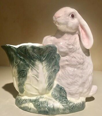 Tailored Tiles, Redwood City, Ca - Bunny Rabbit With Cabbage Planter - Ceramic