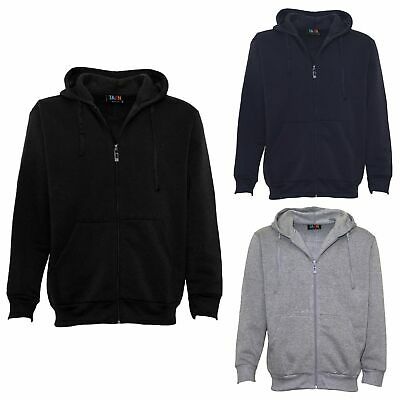New Men's Zip Up Fleece Lined Hoodie Hooded Basic Plain Jacket Sports Casual Gym