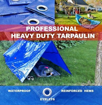 Tarpaulin Heavy Duty Waterproof Strong Blue Cover Ground Sheet Tarp with Eyelets