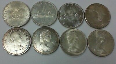 1964 - 1967 Canada Silver Dollars .800 Silver  Voyageur And Commemorative