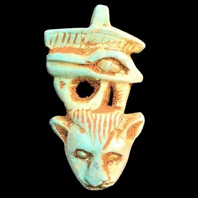 Beautiful Ancient Egyptian Eye Of Horus And Cat Amulet 300 Bc (1)