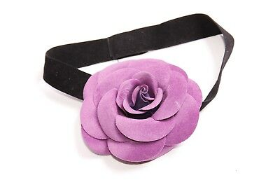 Cute Babies Small Black Headband w Violet Front Pattern (S436)