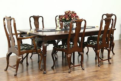 Carved Antique Walnut Dining Set, 11' Table & 6 Chairs, Signed Tobey #28821