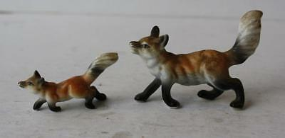 Fox Figurines w-Fluffy Tails Set of 2 Bone China  Great Facial Detail-Unmarked