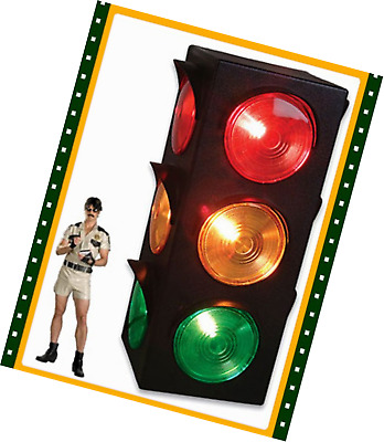 Traffic Light Signal Large Blinking Flashing 3-Sided Lamp Party Red Yellow