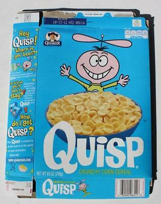 Quisp Quazy Energy Cereal Box- Adventures of Quisp on the Back-Quaker Vintage