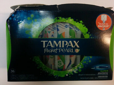 Tampax Pocket Pearl Tampons, Super Absorbency, Unscented, 36/Box