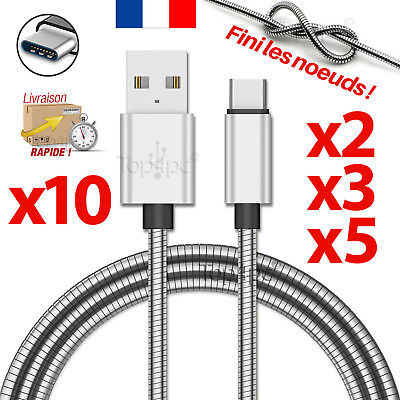 Cable Usb Type-C Chargeur Pour Samsung Galaxy S8 S9 Plus Note 8 Metal Argent