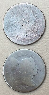 1796 Liberty Cap  Flowing Hair Large Cent  Reeded Edge and a 2nd bonus 1805?