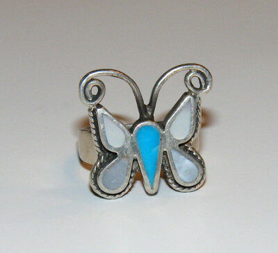 Vintage Sterling SILVER Mother of Pearl MOP BUTTERFLY 925 Size 5.5 Ring  Y4