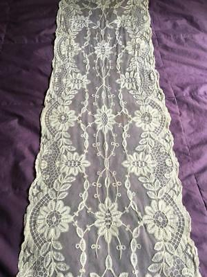 Antique Tambour Lace Runner Tulle Net Gorgeous Florals And Swirls - A Must See!
