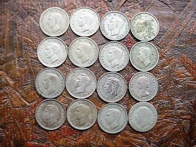 Lot #1 - 16 - Great Britain Vintage 6 Pence Coins - Various Dates - Must See