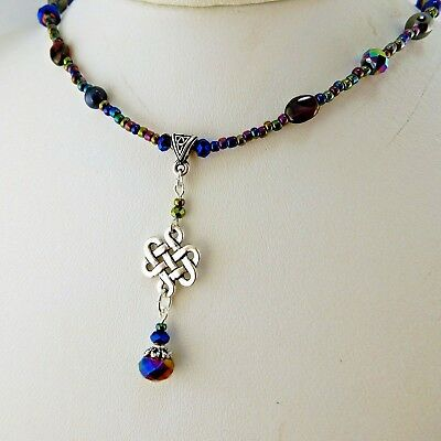 Hand crafted Irish Silver Celtic Knot Necklace w/ Hematite gemstone beads