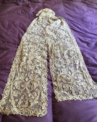 Exquisite Banquet Antique Lace Runner 19C Hw - A Must See!