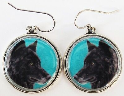 Black Wolf Original Art Earrings