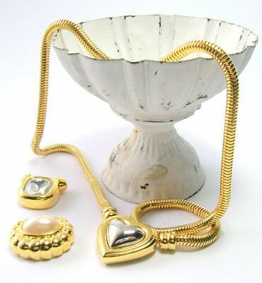 Joan Rivers 3 Pce Necklace Set - Three Pendant Interchangeable Gold Snake Chain