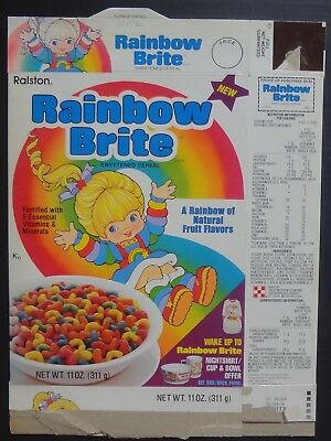New 1st box Rainbow Brite Cereal Box Ralston 1983 with Shirt Cup Bowl offer