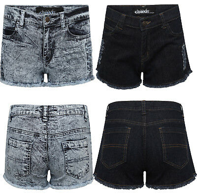 New Ladies Women Girls Plain Stretch Denim Hot Pants Jeans Shorts UK 8-16