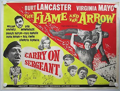 Carry On Sergeant Flame & the Arrow Vintage Original 1958 UK Quad Film Poster