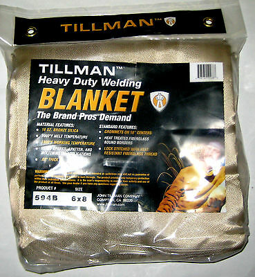 "Tillman Welding Fire Blanket 6X8 Heavy Duty Silca Curtain .03"" Thick No. 594"