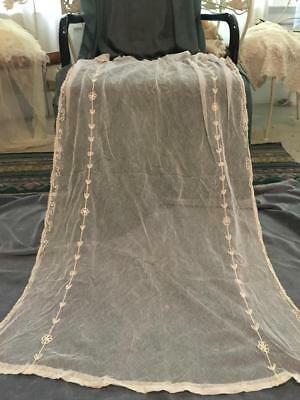 Lovely Antique Tambour Net Lace Curtain Panel