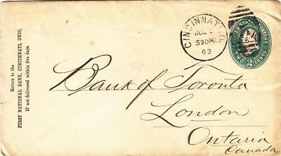 1892, 1st National Bank, Cincinnati, OH to London, Canada (D170)