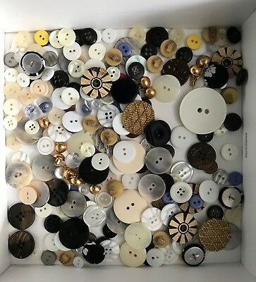 Mixed lot 200+ sewing buttons set pair wood shell acrylic fabric coconut flower