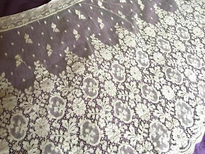 Exquisite Antique French Net Lace Curtain Panel - Valencienne Lace - A Must See!