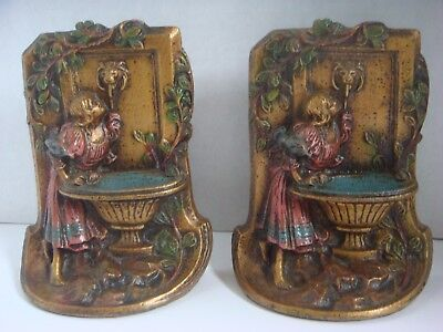 Antique Painted Cast Iron Lady At Garden Water Fountain Bronze Vintage Bookends