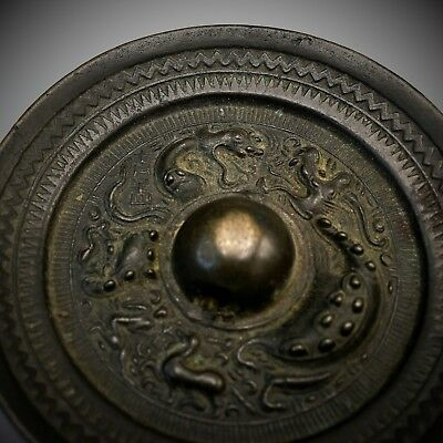 VERY RARE Fine Fighting DRAGONS Antique Chinese Han - Tang Dynasty BRONZE Mirror