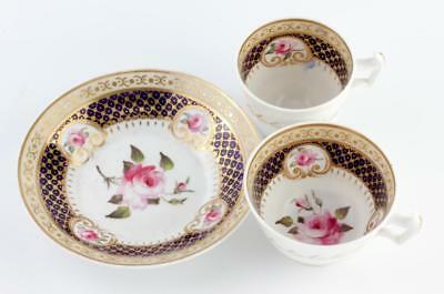 Fine Antique English Porcelain Hand Painted Gilded Trio 2 Cup Ridgway No Reserve
