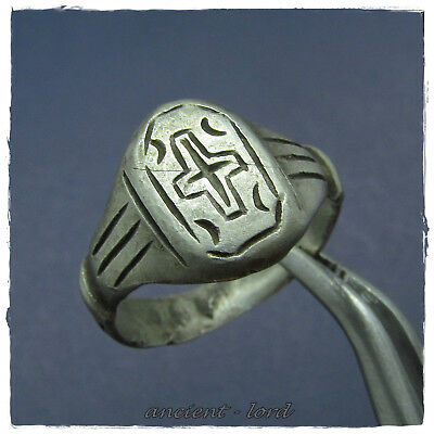 ** CROSS **  beautiful  ancient SERBIAN four S  SILVER BYZANTINE ring !!!