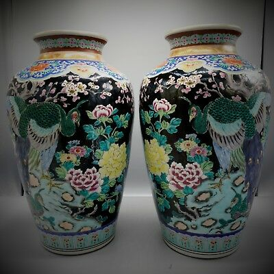 PAIR 19th Century LARGE Fine Chinese ANTIQUE Peacock VASES, Famille Noire SIGNED