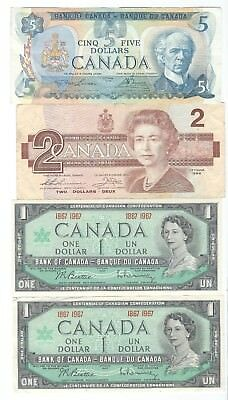Canada - 1967-1986, Lot of 10 notes -- 1,  2 & 5 Dollars