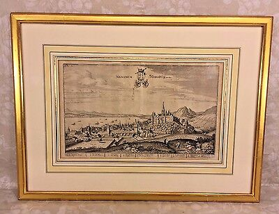 Antique Etching Neocomum Newenburg Am Se by Matthaus Merian (1593-1650)