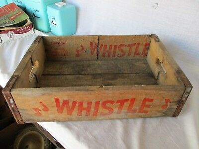 Antique Vintage Whistle Beverages Wooden Soda Crate Carrier Advertising