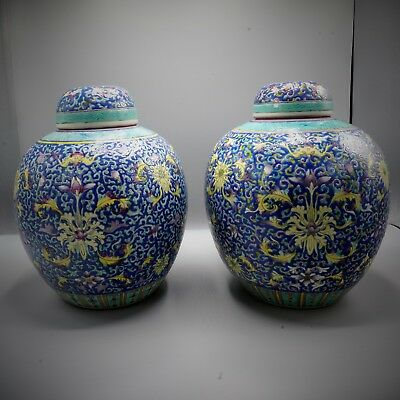 19th Century - PAIR Chinese ANTIQUE Famille Rose Violet-Ground LOTUS Ginger Jars