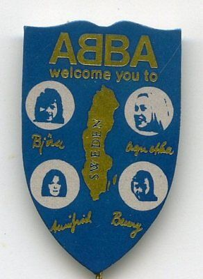 "ABBA- MEGA RARE PIN / ANSTECKNADEL ""Welcome you to Sweden"" FROM THE SEVENTIETH"