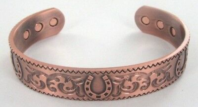 Personalised Horseshoe Gift Magnetic Therapy Bangle Copper Healing Bracelet Bio