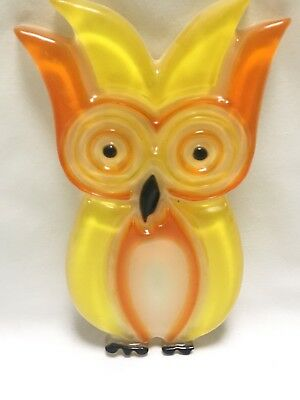 Vintage 60's Lucite Resin Owl Spoon Rest Holder~Wall Hanging~Yellow Orange~Retro