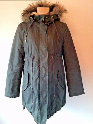 H&m Mama Maternity Khaki Green Quilted Cotton Parka Coat Jacket Size S 8-10