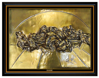 Salvador Dali Bronze Wall Relief Sculpture The Last Supper Signed Artwork Framed