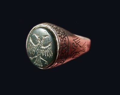 ** EXCELLENT **BYZANTINE or MEDIEVAL SILVER  ring ** TWO HEAD EAGLE **