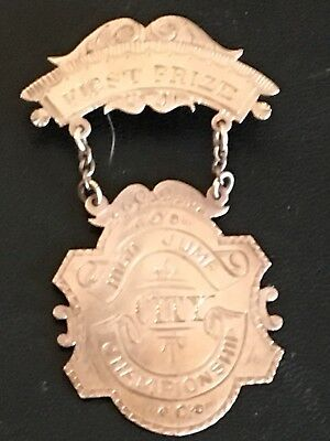 """Dated 1894 10K Gold 2"""" athletic medal, engraved first prize High Jump; 5 grams"""