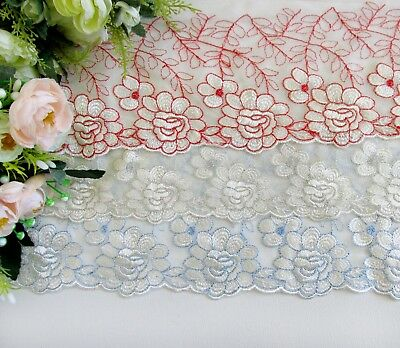 15 cm width Blue&White/Red&White Embroidery mesh Lace Trim