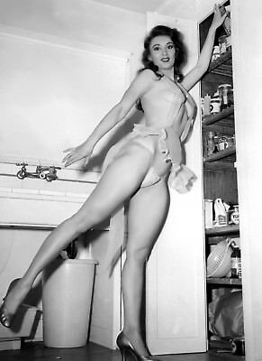 1960's Vintage Nude Pin up Pantry Standing 8.5 x 11 Photograph