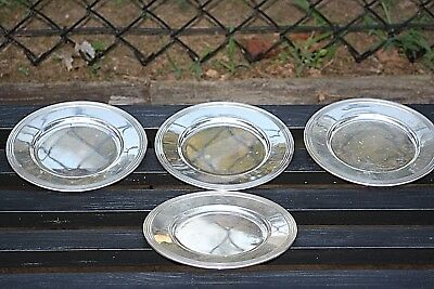 "Lot of 4 Frank M. Whiting Sterling Silver Bread Plates 340 grams 6"" Round"